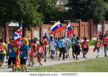 CRACOW POLAND - JULY 26 2016: World Youth Day 2016 - Pilgrims in the Sanctuary of Divine Mercy in Lagiewniki. Cracow Poland