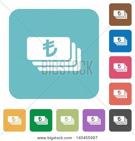 Flat Turkish Lira banknotes icons on rounded square color backgrounds.