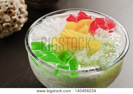 Cold sweet soup of jelly and fruit in asia