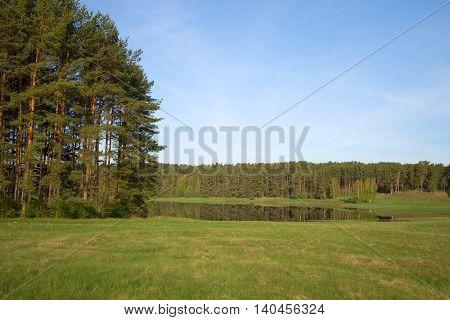 May morning at lake Malenets. Mikhailovskoe, Pushkinskie Gory, Pskov region, Russia