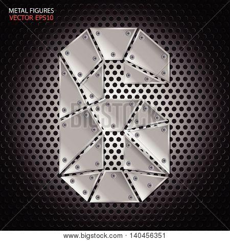 Metal figures six vector on aluminum background