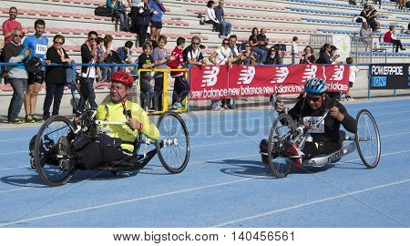 CAGLIARI ITALY - 2012 November 4: 5 ^ Half Marathon - 4th memorial Delio Serra - athletes of hand bike