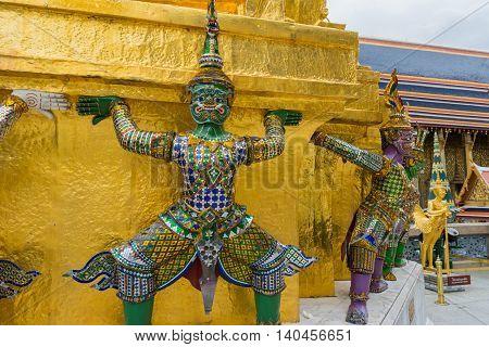 Wat Phra Kaew, Temple Of Emerald Buddha In Bangkok, Thailand
