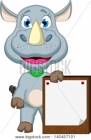 funny baby cartoon rhino with blank board