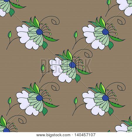 Nice pastel hand drawn floral seamless pattern