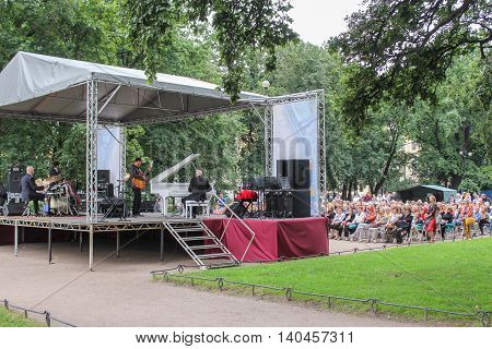 St. Petersburg, Russia - 23 July, Concert in the summer garden,  23 July, 2016. Speech by David Goloschekin with his jazz group on the Arts Square in St. Petersburg.