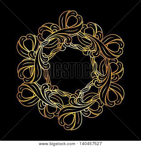 Abstract floral design element in gold colors on black background