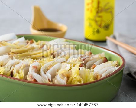 Steamed white cabbage or kimchi in meal box in japanese style