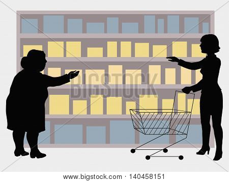 Image of the buyer and display of goods in the shop window for your articles