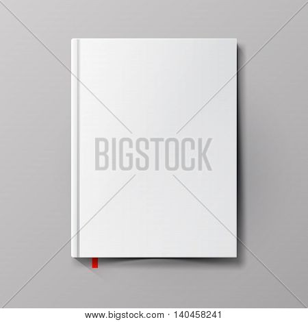 White blank book cover. Net book template. Vector illustration