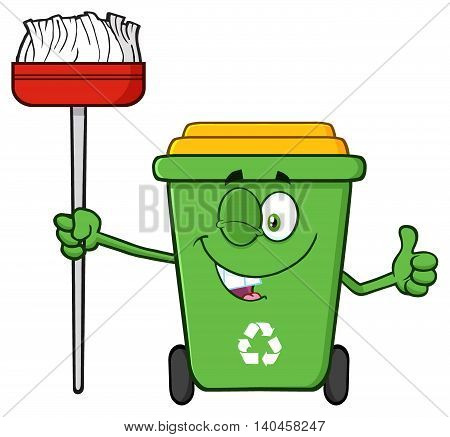 Winking Green Recycle Bin Cartoon Mascot Character Holding A Broom And Giving A Thumb Up
