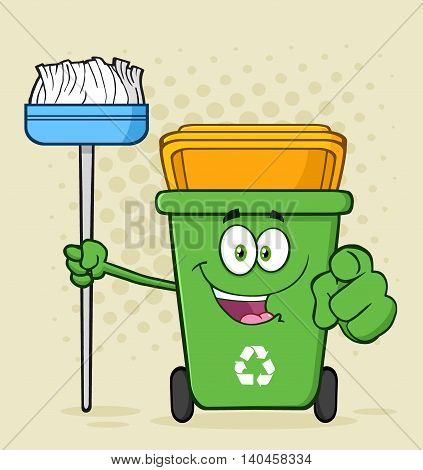 Open Green Recycle Bin Cartoon Mascot Character Holding A Broom And Pointing For Cleaning. Illustration With Halftone Background