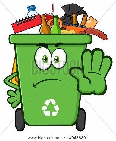 Angry Green Recycle Bin Cartoon Mascot Character Full With Garbage Gesturing Stop