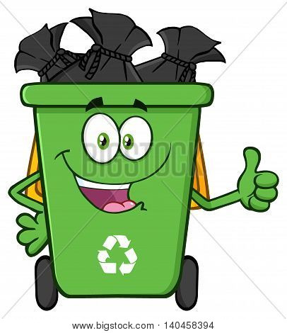 Happy Green Recycle Bin Cartoon Mascot Character Full With Garbage Bags Giving A Thumb Up. Illustration Isolated On White Background