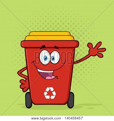 Happy Red Recycle Bin Cartoon Mascot Character Waving For Greeting. Illustration With Green Halftone Background