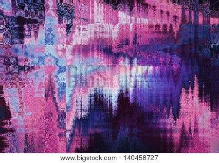 violet blurred abstract background texture with horizontal stripes. glitches distortion on the screen broadcast digital