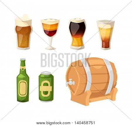 Beer vector icons set.