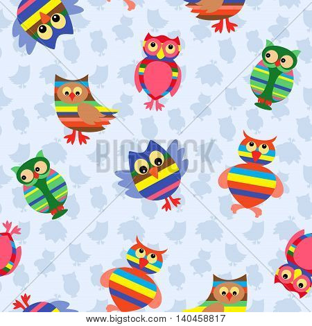 Funny colourful stripy owls on the background with many stylized simple owls seamless vector pattern
