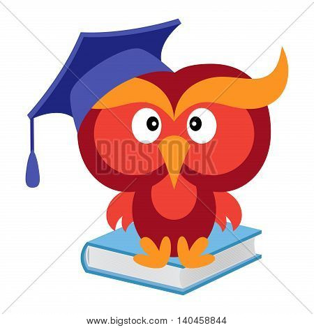 Big funny wise owl in the mortarboard cap sitting on the blue book cartoon vector illustration isolated on the white background