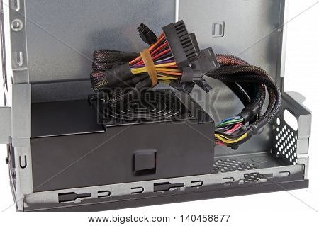 Power supply of pc computer on white background