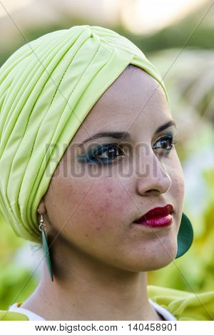 QUARTU S.E. ITALY - July 15 2016: 30 ^ Sciampitta - International festival of folklore - Maraguan Group Camarguey University (Havana - Cuba) - Sardinia - portrait of a beautiful Cuban girl