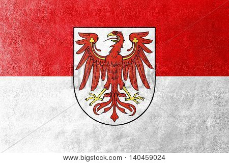 Flag Of Brandenburg, Germany, Painted On Leather Texture