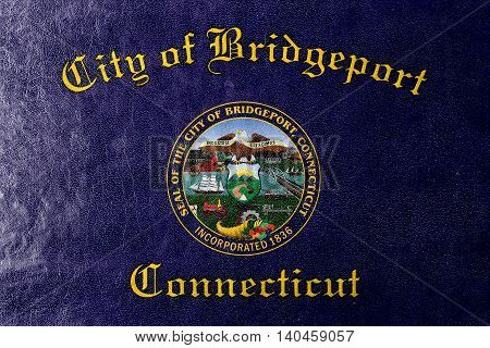 Flag Of Bridgeport, Connecticut, Usa, Painted On Leather Texture