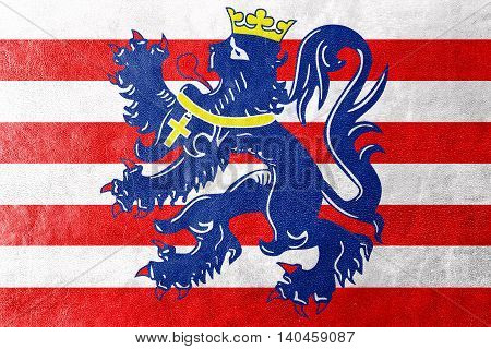 Flag Of Bruges, Belgium, Painted On Leather Texture