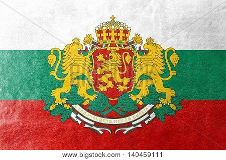 Flag Of Bulgaria With Coat Of Arms, Painted On Leather Texture