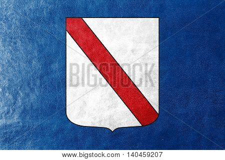 Flag Of Campania, Italy, Painted On Leather Texture