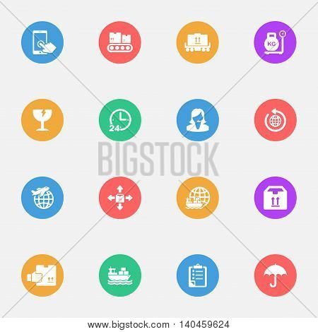 Logistics icons on the color substrate set