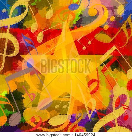 Bright music background with musical notes and big star