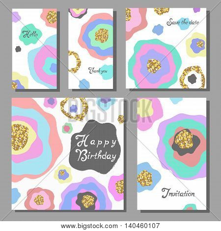 Set of artistic colorful universal cards. Wedding, anniversary, birthday, holiday, party. Design for poster, card, invitation. With golden glitter texture. Vector illustration