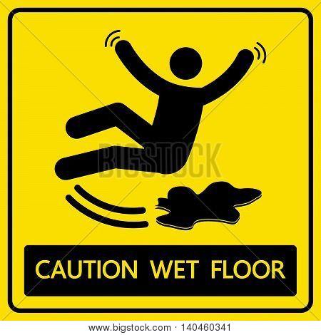 Caution Wet Floor Sign And Symbol Vector