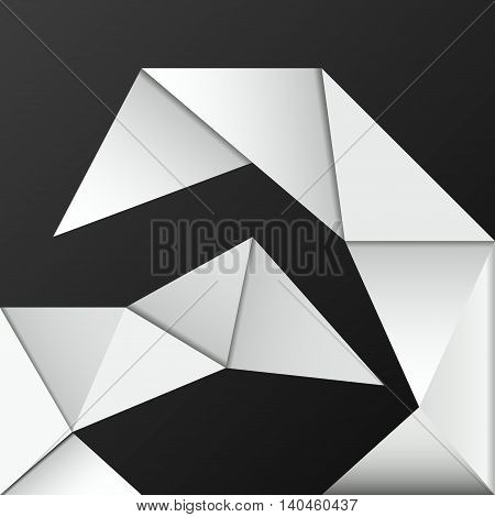 Geometric shapes on black background. White triangles in stylish design