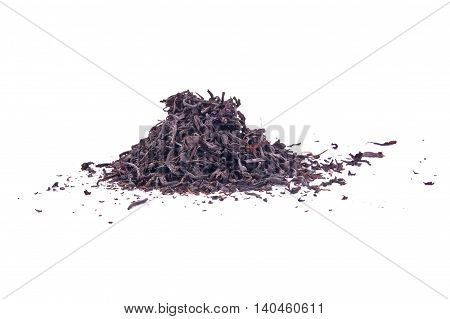 Black tea isolated on a white background