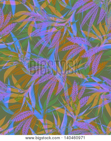 seamless camouflage tropical pattern with overlpping layered bird of paradise and palms flowers. beaitiful faded colors and motives.