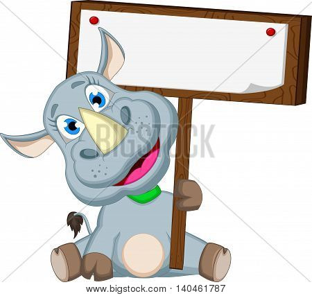 cute rhino cartoon sitting with blank sign