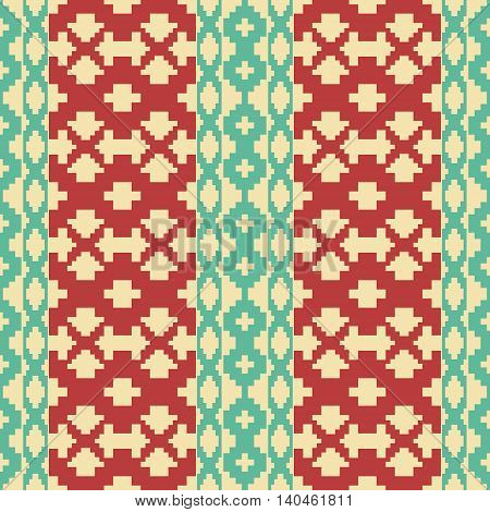 Seamless knitted retro pattern. Wide vertical stripes with polygonal shapes form elegant geometric ornament. Beautiful graphic print in vintage colors. Vector illustration for fashion design