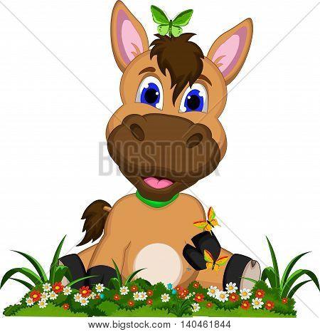 funny donkey cartoon with flower garden background