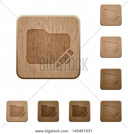 Set of carved wooden Edit folder buttons in 8 variations.
