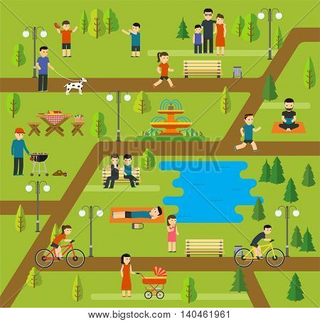 Rest in a public park Camping in the park picnic biking walking the dog in park yoga sessions running in park holidays by the lake family holiday in nature.