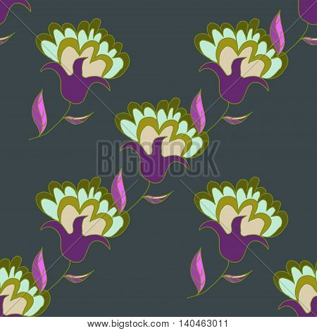 Multicolored hand drawn seamless pattern with flowers