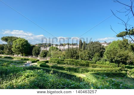 A nice landscape in Rome from a public garden with a clear sky