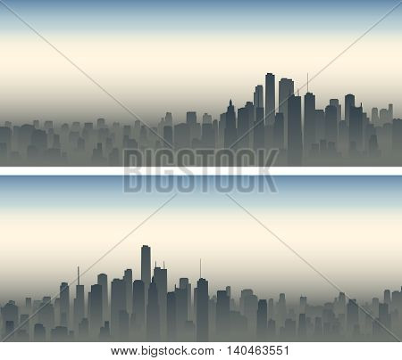 Set of horizontal wide banners of big city with skyscrapers in haze.