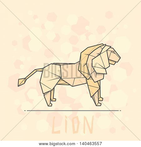 Vector simple illustration paper origami of lion.