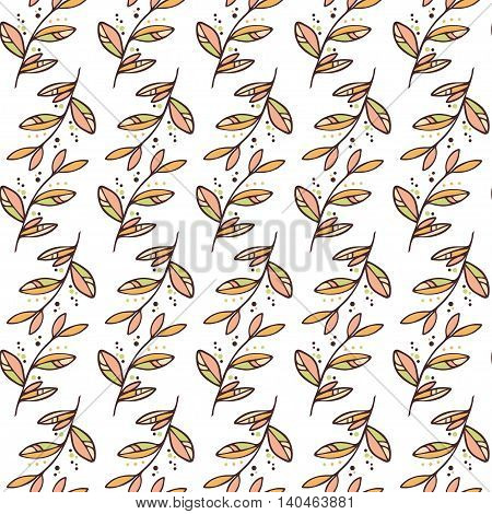 Vector autumn branch seamless pattern background with decorative branches forming a floral texture.