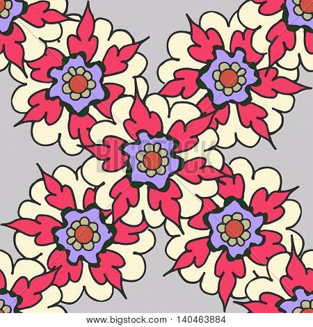 Beautiful hand drawn seamless pattern with red flowers