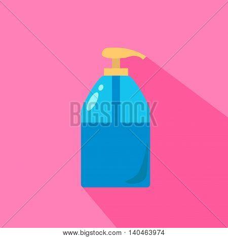 Liquid Soap Dispenser Pump Round Plastic Bottle Transparent Blue