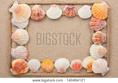 Frame made of rope with seashells on the sand with space for your text